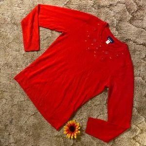 Red jewel sweater